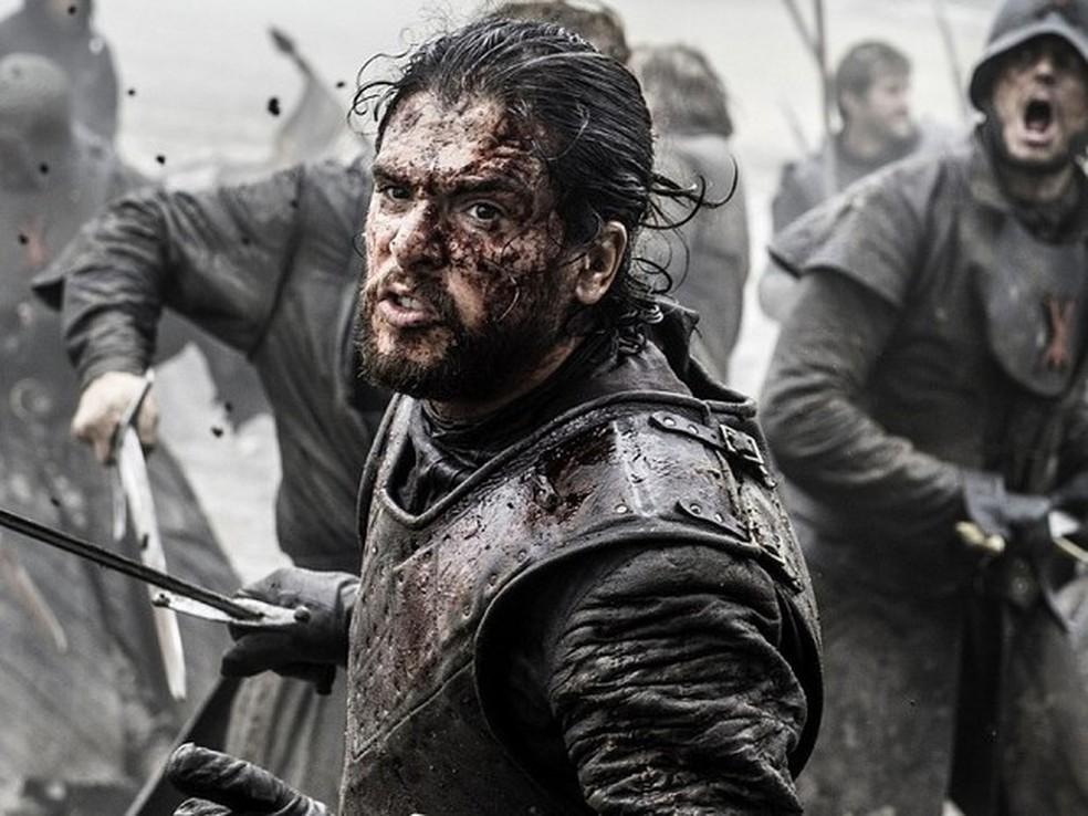 Jon Snow (Kit Harington) no épico episódio A Batalha dos Bastardos, 9º episódio da sexta temporada de 'Game of Thrones'. (Foto: Divulgação)