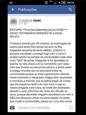 Texto postado por vítima no Facebook (Foto: Reprodução / Facebook)