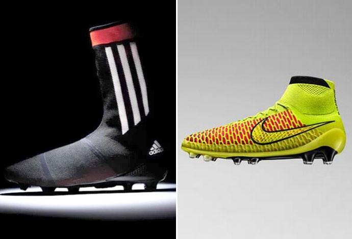 montagem nova chuteira meião Adidas e Nike (Foto: Editoria de Arte)