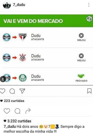 """Dudu Palmeiras """"vai e vem"""" (Foto: Reprodução/Instagram)"""