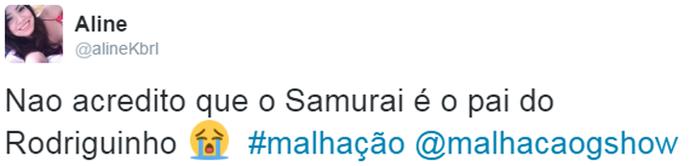 Internauta não acredita que Samurai é o pai de Rodriguinho (Foto: Reprodução)