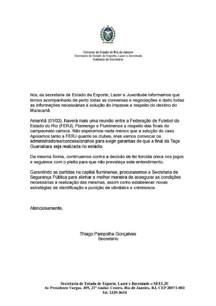 Nota Secretaria de Esporte Maracanã (Foto: Reprodução)