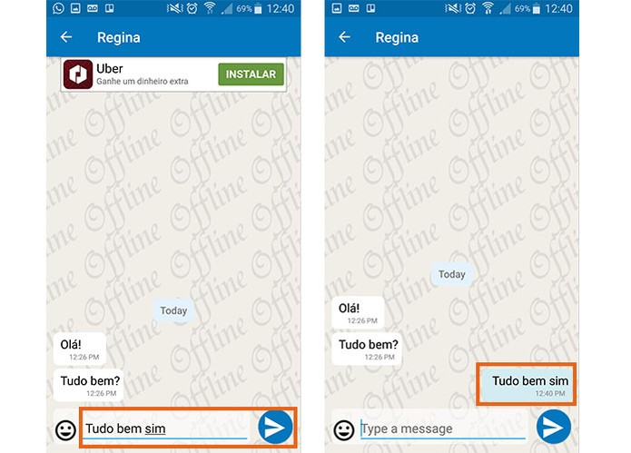 Envie sua mensagem para o amigo mas fique offline no Whatsapp para outras pessoas (Foto: Reprodução/Barbara Mannara)