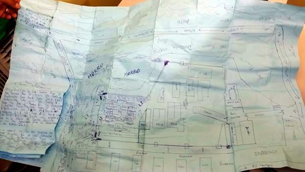 Bloco apreendido contem anotações e mapas desenhados do Pavilhão 5 e Penitenciária de Alcaçuz, em Nísia Floresta    (Foto: Divulgação/Polícia Militar do RN)