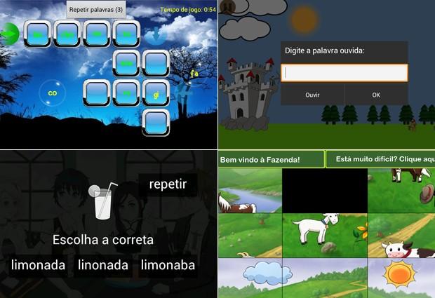 No sentido horário, os aplicativos Aramumo, Arqueiro Defensor e Mimosa e o Reino das Cores (Foto: Reprodução)