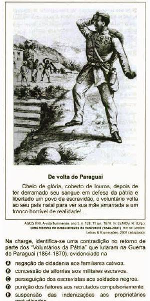 Questão sobre a Guerra do Paraguai que caiu na prova de ciências humanas do Enem 2014 (Foto: Reprodução/Inep)