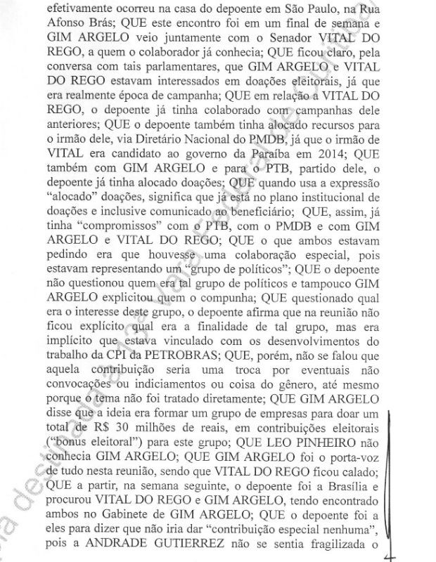 Executivo da Andrade Gutierrez relatou encontro com os ex-senadores Gim Argello e Vital do Rêgo (Foto: Reprodução)