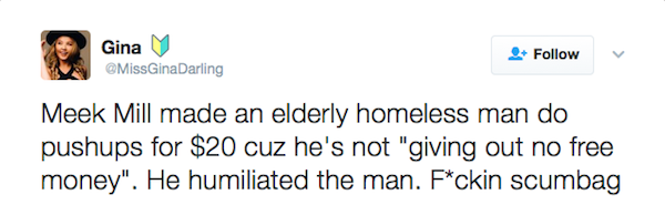 Uma crítica ao rapper Meek Mill (Foto:  Twitter)