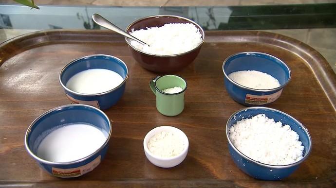Receita leva tapioca, coco, açúcar e leite (Foto: TV Bahia)