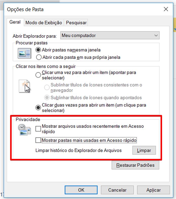 Desmarque as duas opções para que o Windows deixe de registrar arquivos e pastas acessados com frequência (Foto: Reprodução/Filipe Garrett)