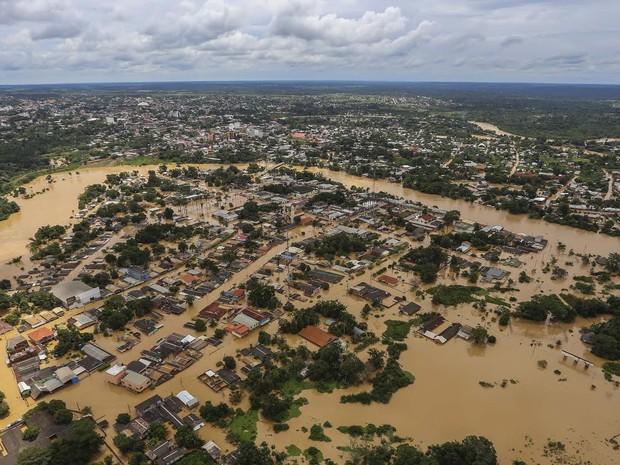 Brasiléia está tomada pelas águas do Rio Acre (Foto: Gleilson Miranda/Secom Acre)