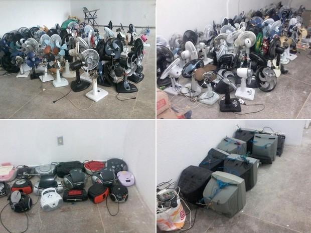 Dezenas de ventiladores, rádios e TVs foram recolhidos nesta segunda (25) do pavilhão 2 da Penitenciária Estadual de Parnamirim (Foto: Sejuc/Divulgação)
