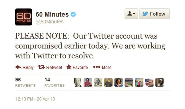 Contas do Twitter dos programas '60 Minutes' e '48 Hours' foram invadidas por hackers (Foto: Reprodução/Twitter/60 Minutes)
