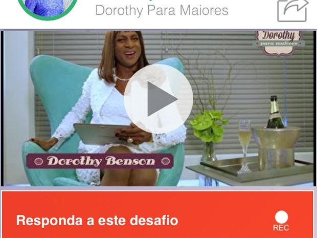 Tela do aplicativo Filma-e, onde você assiste ao vídeo de Dorothy e pode gravar o seu (Foto: Parker TV)