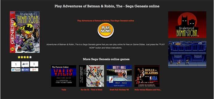 Basta clicar em Play Now para iniciar o jogo de Mega Drive (Foto: Reprodução/Felipe Vinha)
