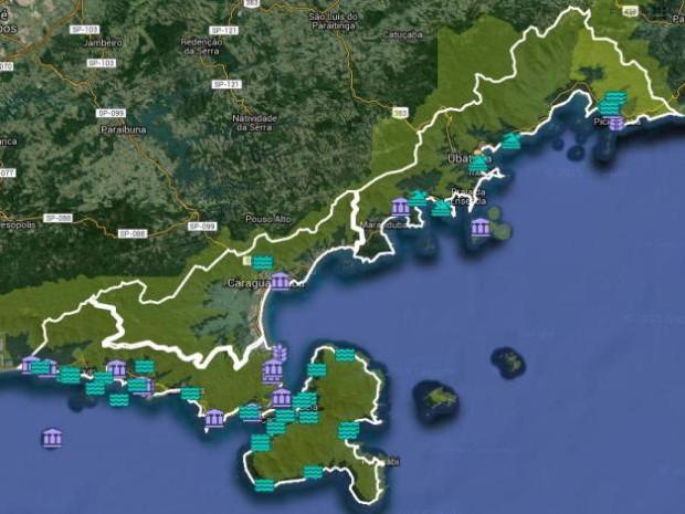 Mapa virtual reúne 87 atrações do litoral norte (Foto: Reprodução/Google Maps)