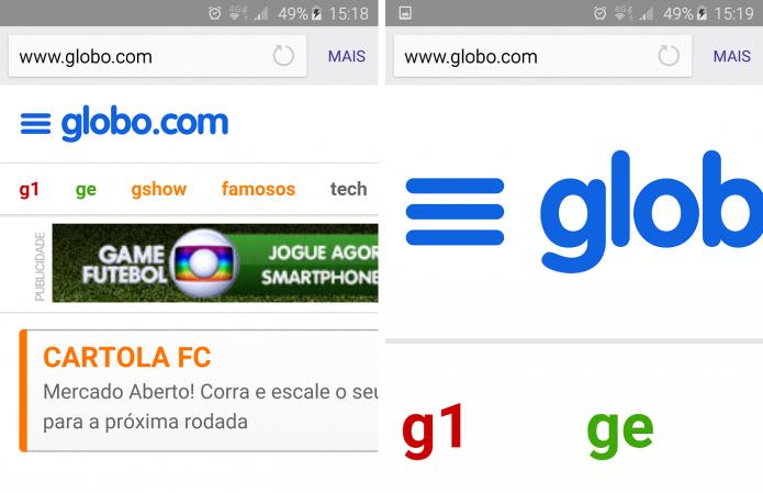 Á esquerda, a página com zoom máximo padrão, à direita com zoom manual (Foto:TechTudo/Rafael Jandre)
