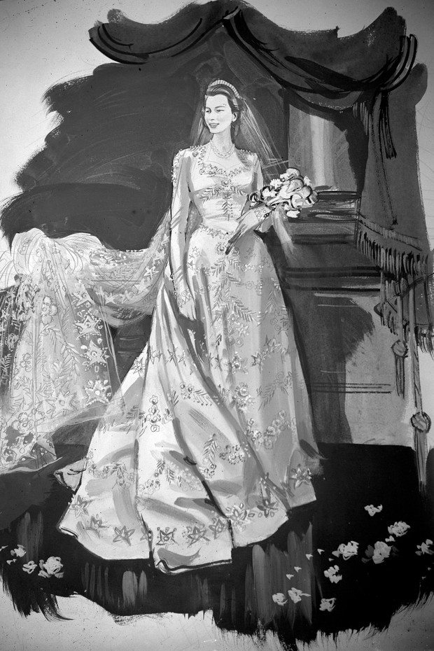 An artist's impression of Princess Elizabeth's wedding gown designed by Norman Hartnell for the wedding of Princess Elizabeth and Lieut. Phillip Mountbatten RN. It is a gown of ivory duchesse satin, cut on classic lines, with fitted bodice, long tight sle (Foto: PA Archive/PA Images)
