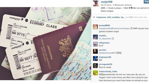 """Jovem postou no Instagram foto do bilhete do voo MH17 ao lado da frase: """"Estou tão animado!"""" (Foto: Reprodução/Instagram/reetje108)"""