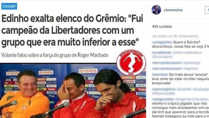 Clemer ironiza declarações de Edinho por meio do Instagram (Foto: Instagram / Reprodução)