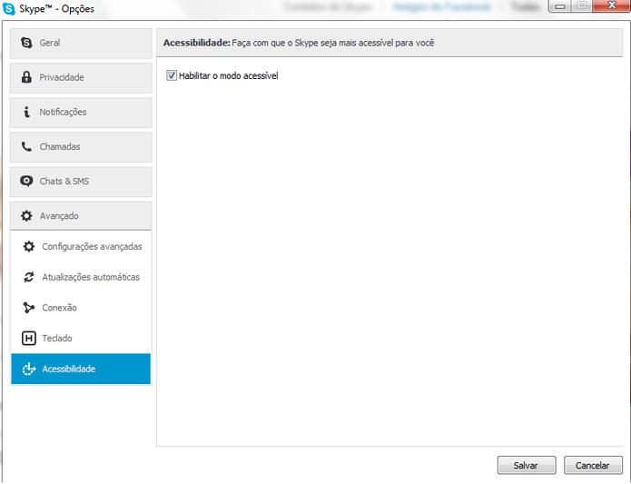 Habilite o modo acessível do Skype para ter acesso aos recursos de acessibilidade (Foto: Reprodução/Carol Danelli)