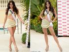 Em desfile de biquíni das candidatas ao Miss Universo, brasileira Melissa Gurgel usa look comportado
