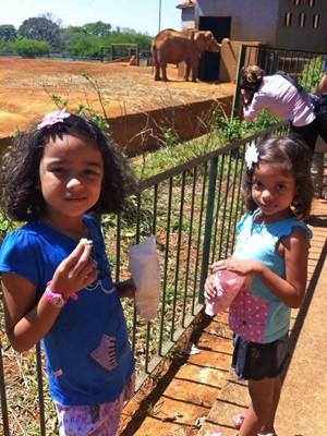 Leticia e Larissa Farias visitam Zoológico de Brasília (Foto: Catiana Almeida/Arquivo Pessoal)