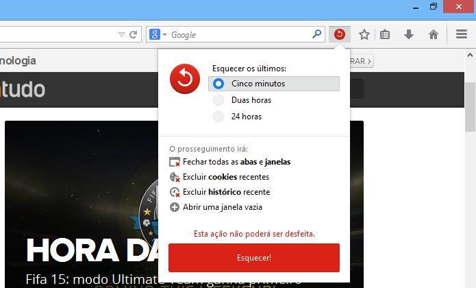 Apagando histórico de navegação recente do Firefox (Foto: Reprodução/Helito Bijora)