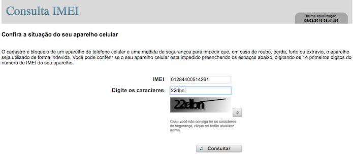 Digite o IMEI do aparelho e código de confirmação (Foto: Reprodução/Helito Bijora)