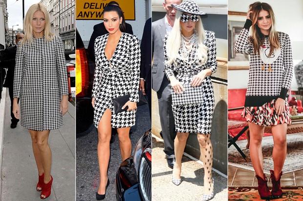 MODA - Pied de poule - Gwyneth Paltrow, Kim Kardashian, Lady Gaga e Thassia Naves (Foto: Getty Images | X17 | Reprodução)