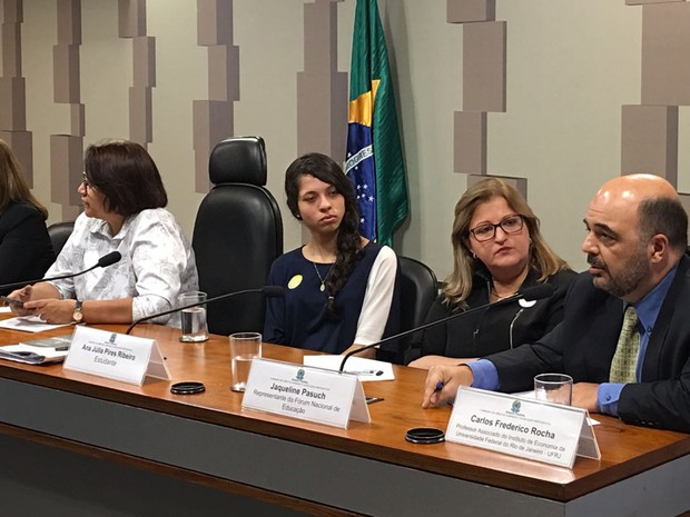 A estudante Ana Júlia Ribeiro participa de audiência pública na Comissão de Direitos Humanos do Senado (Foto: Gustavo Garcia / G1)