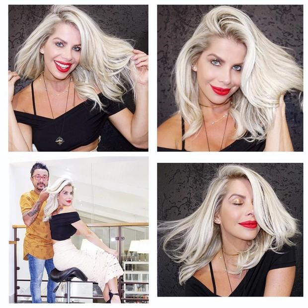 Karina Bacchi fica loira platinada (Foto: Reprodução/Instagram)