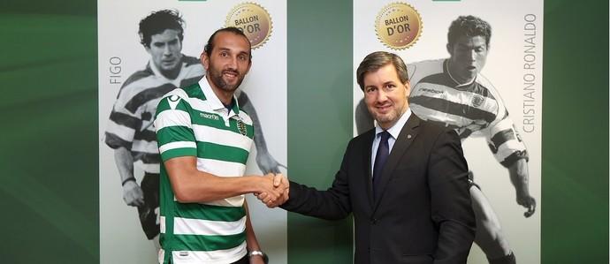 Barcos é anunciado pelo Sporting (Foto: Twitter)