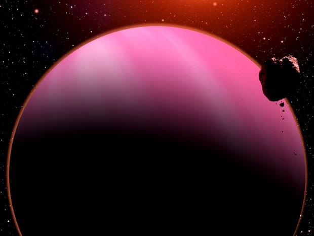 Concepção artística do exoplaneta HAT-P-11b que orbita sua estrela 122 anos-luz da Terra (Foto: David A. Aguilar/CfA/Divulgação)