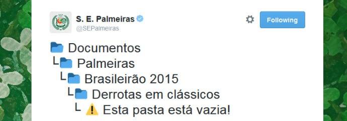 Palmeiras tira onda no Twitter: nenhuma derrota em clássicos no Brasileirão (Foto: reprodução / Twitter)