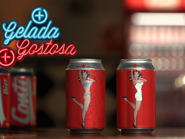 Conti Bier lança lata com pin-up que troca vestido por biquíni para avisar que cerveja está gelada  (Foto: Divulgação)