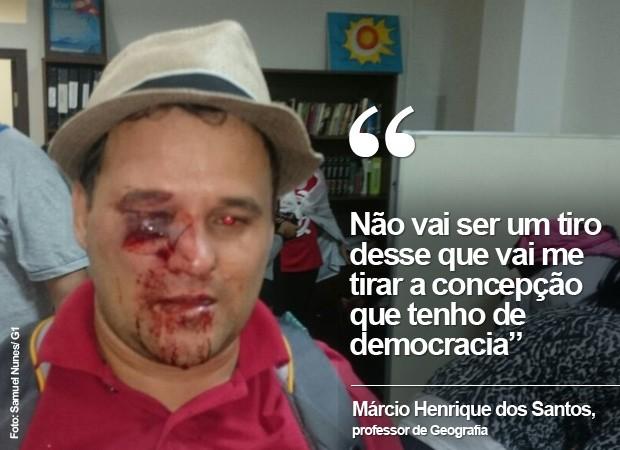 Professor Márcio Henrique dos Santos se fere em confronto em Curitiba (Foto: Samuel Nunes/ G1)