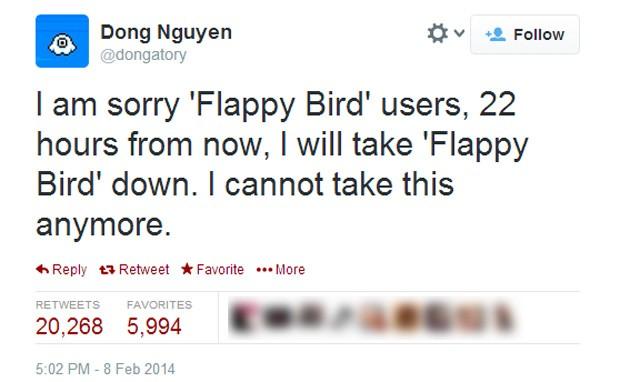 Dong Nguyen afirmou em seu perfil no Twitter que game será retirado do ar até domingo (9) (Foto: Reprodução/Twitter/dongatory)