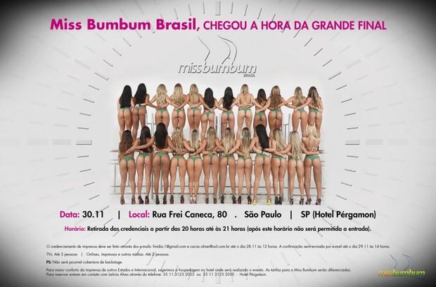 Convite Miss Bumbum 2012 (Foto: Divulgação / Miss Bumbum)