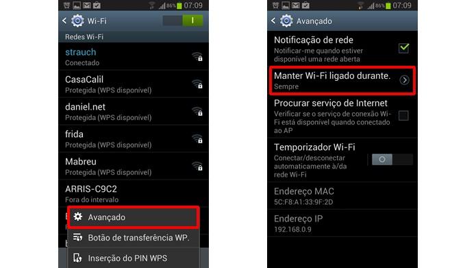 Configure o aparelho para que o Wi-Fi mantenha-se ligado mesmo quando suas atividades estiverem suspensas (Foto:Reprodução/Daniel Ribeiro)