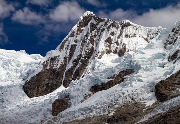 Imagem mostra a geleira Artesonraju, em Cordillera Blanca, no Peru  (Foto: Ben Marzeion/Divulgação)