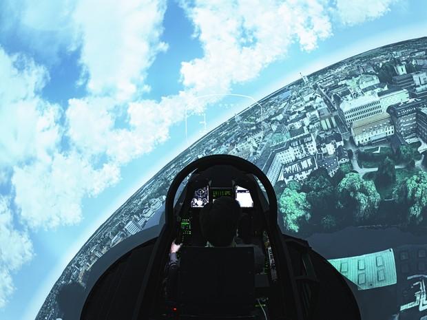 Simulador do Gripen na Suécia (Foto: Saab/divulgação)