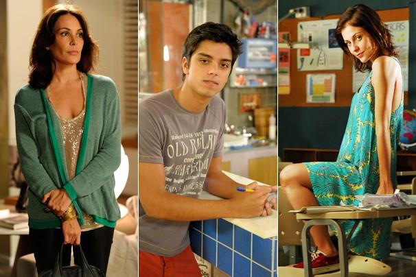 Carolina Ferraz é Tereza, Rodrigo Simas vive  Marlon e Christiana Ubach faz o papel de Paulinha em Além do Horizonte (Foto: Globo)