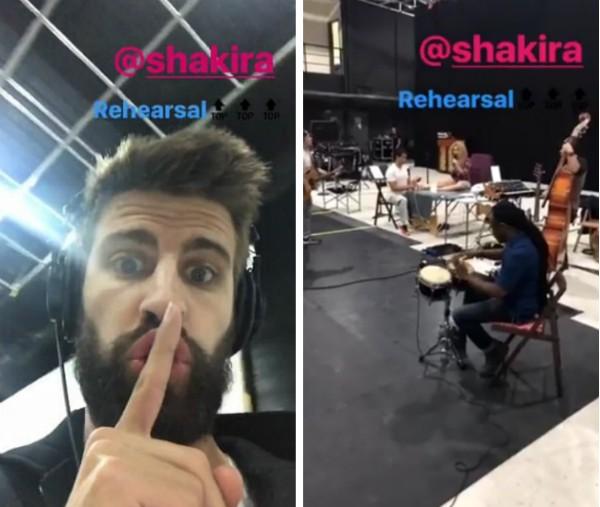 O jogador de futebol Gerard Piqué no ensaio de sua esposa, a cantora Shakira (Foto: Instagram)