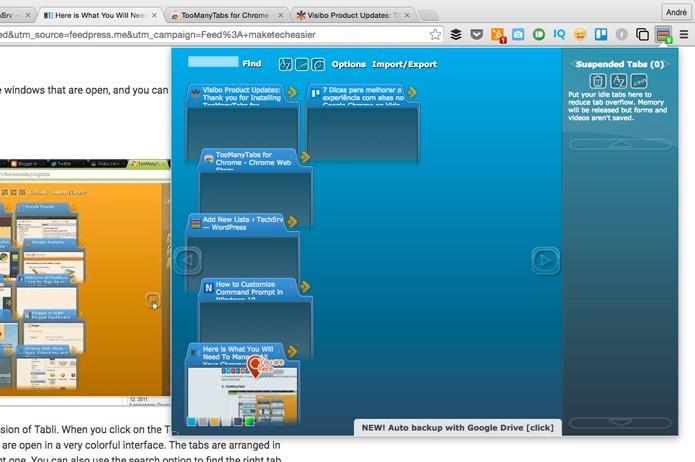 Visualize as abas abertas com a extensão TooMany Tabs (Foto: Reprodução/André Sugai)