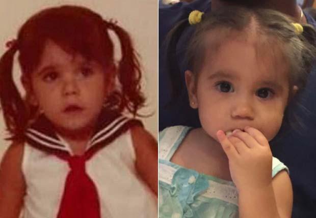 Deborah Secco ainda criança e Maria Flor atualmente (Foto: Instagram / Reprodução)