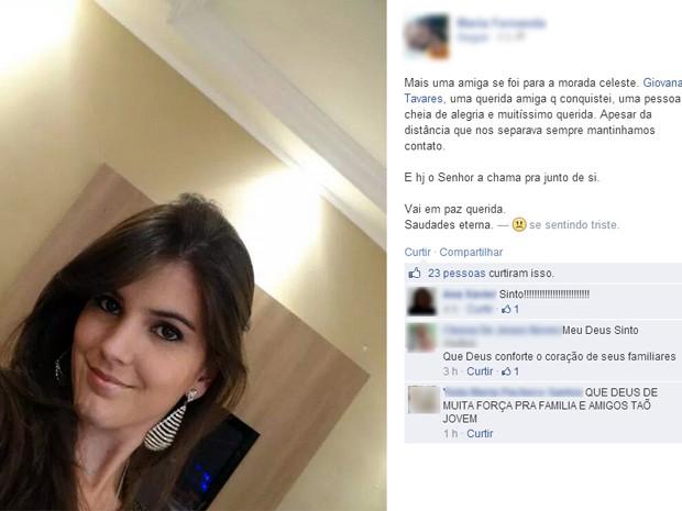 Parentes e amigos lamentaram a perda da jovem (Foto: Reprodução Facebook)