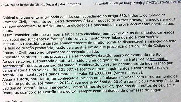 Trecho da decisão do juiz da 7ª Vara Cível de Brasília (Foto: Reprodução)
