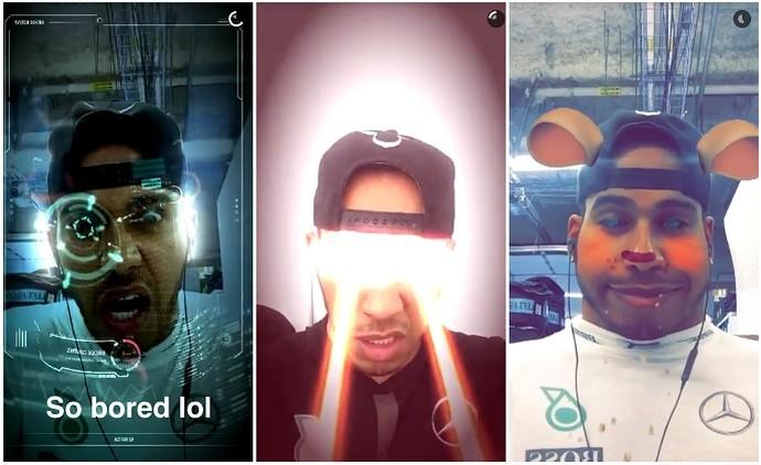 Lewis Hamilton montagem snapchat (Foto: Divulgação)