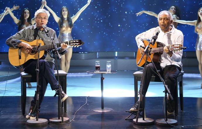Caetano e Gil cantam sucessos no Domingão (Foto: Carol Caminha/Gshow)
